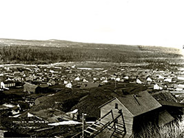 This 1896 photo was shot from the mine site overlooking the town. Central later had a population of over 1,200 and 130 homes. (KCHS)