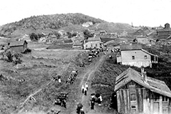 This photo from an early Central Reunion shows the town of Central as viewed from the Church looking towards the mine. (KCHS)